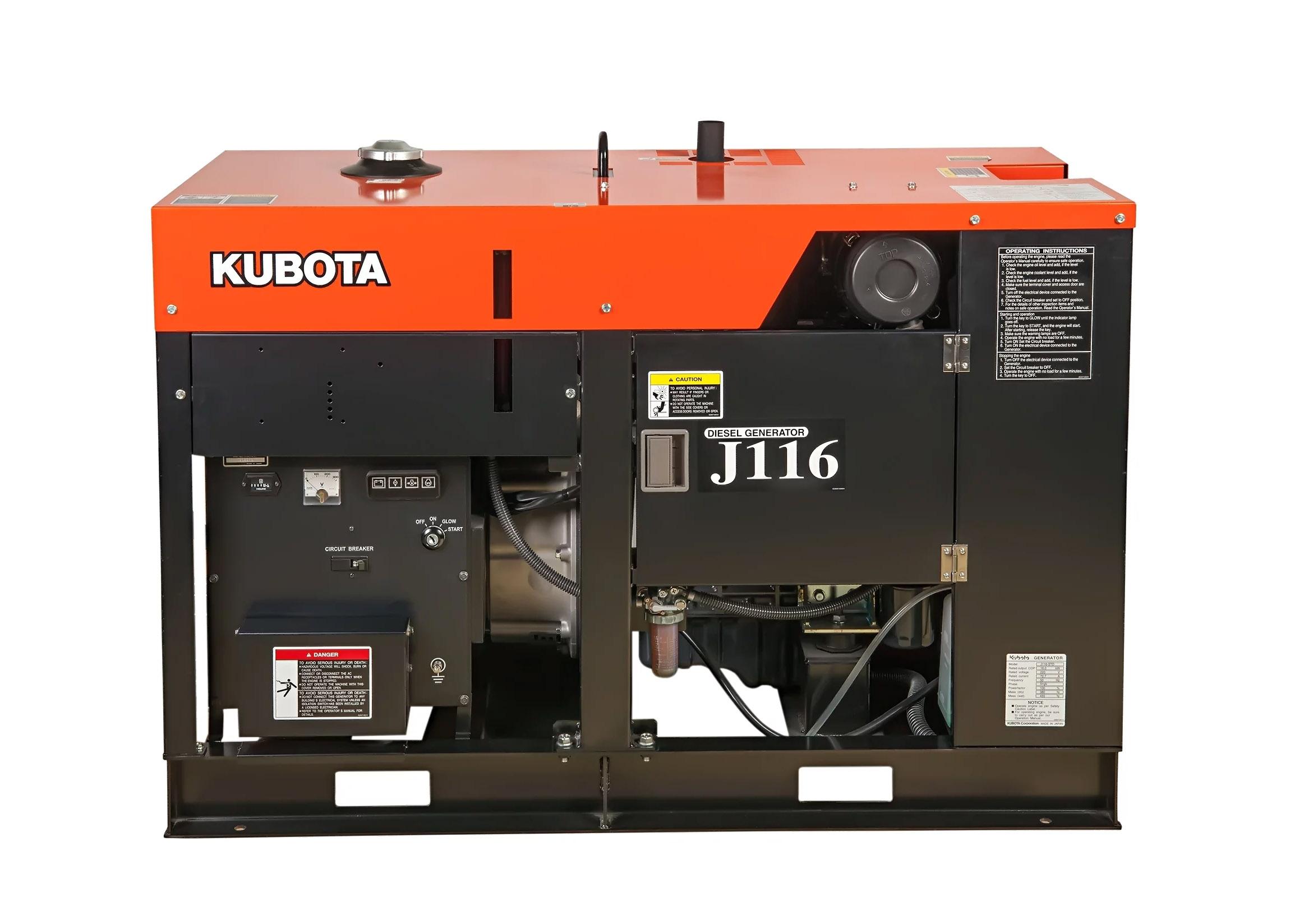 Дизельный генератор (электростанция) Kubota J116