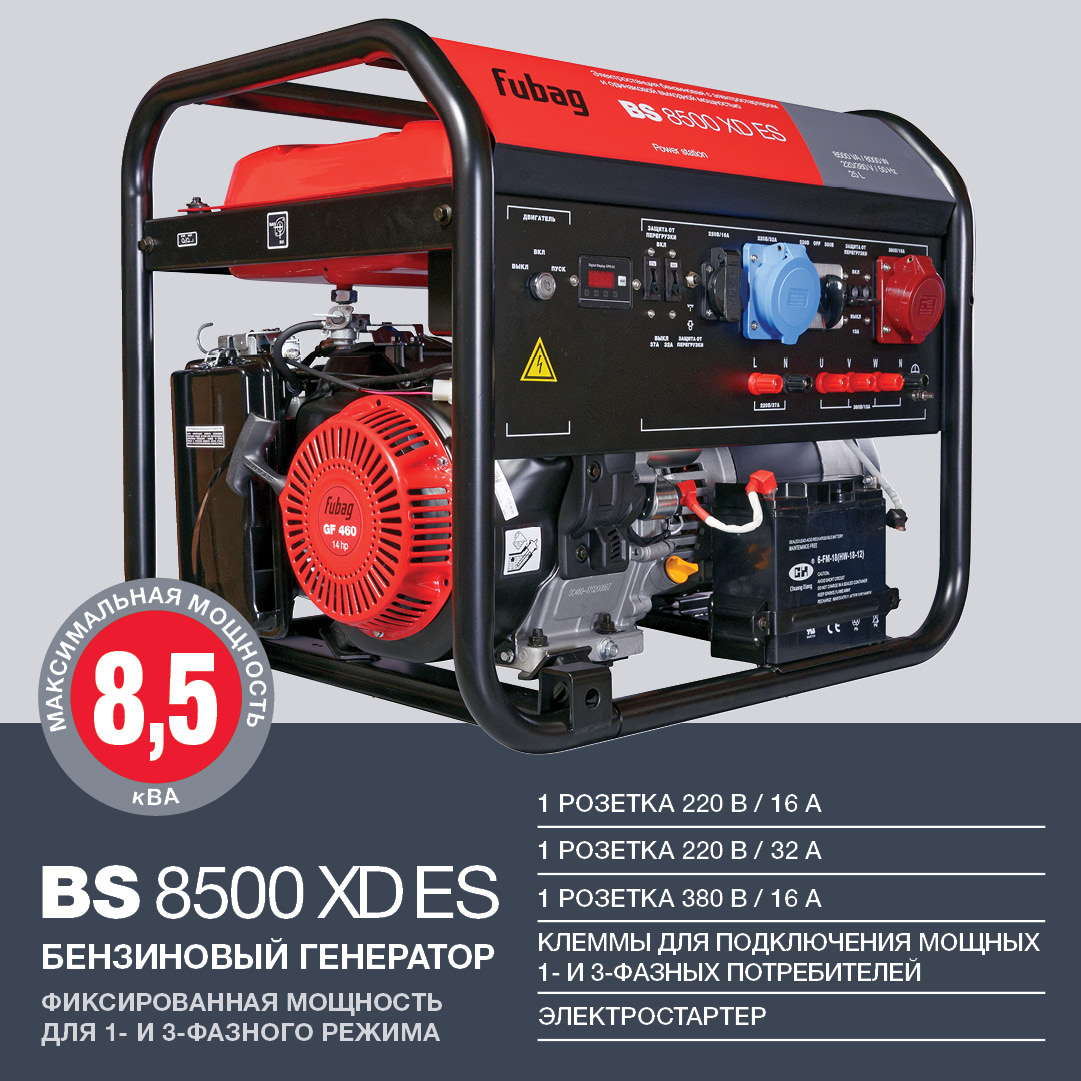 Бензиновый генератор (Бензогенератор) FUBAG BS 8500 XD ES