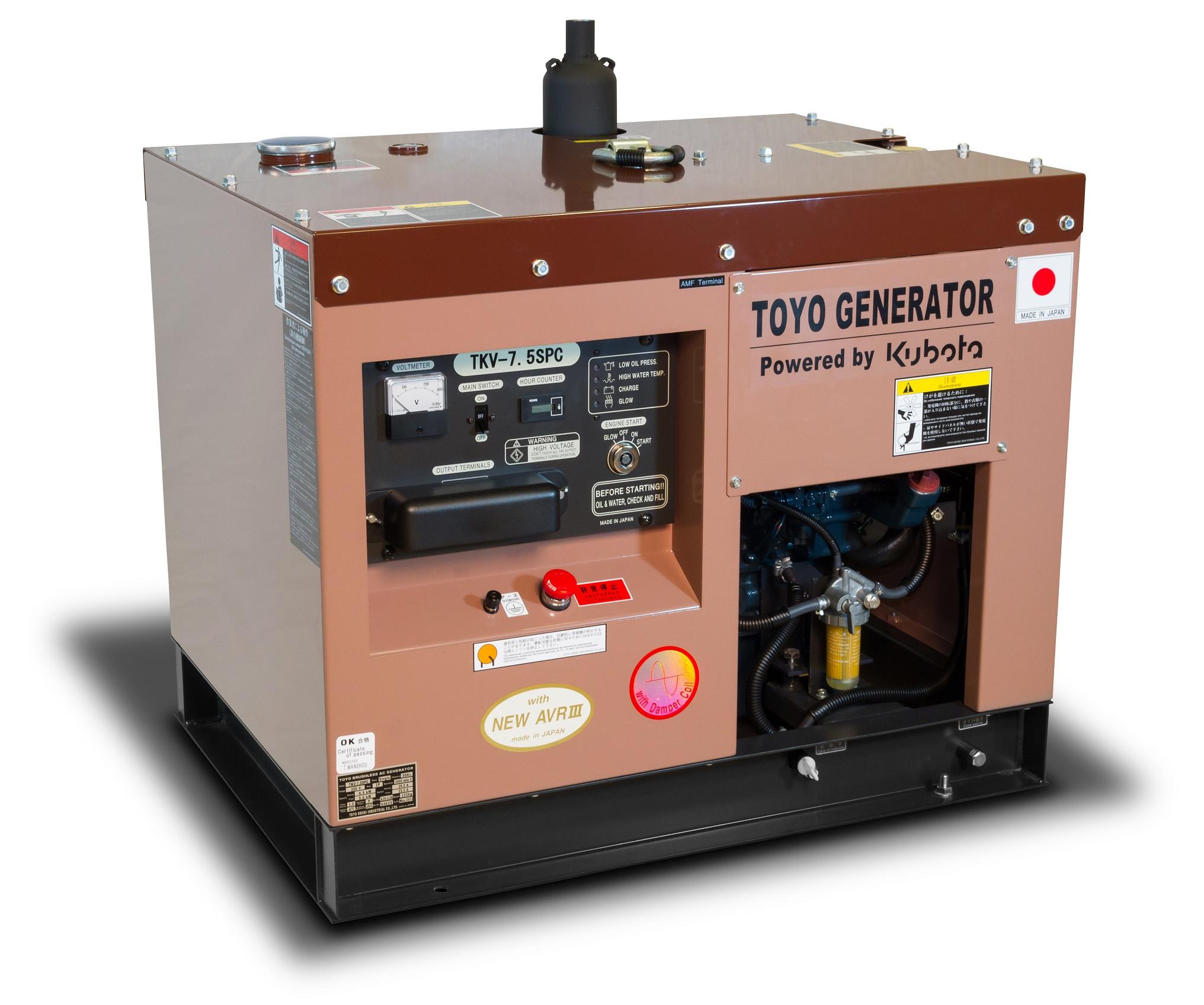 Дизельный генератор (электростанция) TOYO TKV-7.5SPC